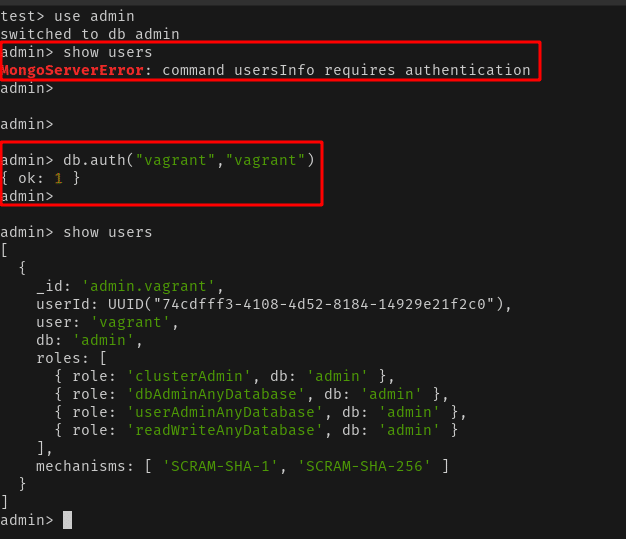 Conéctese a la base de datos de MongoDB como usuario de Vagrant