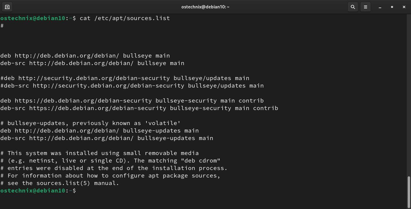 Debian 11 sources list