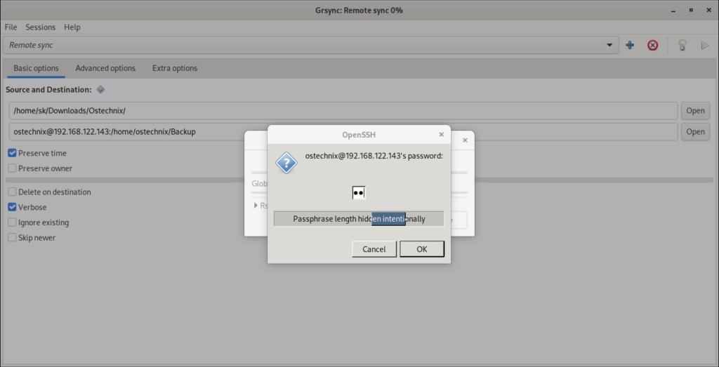 Enter remote user password