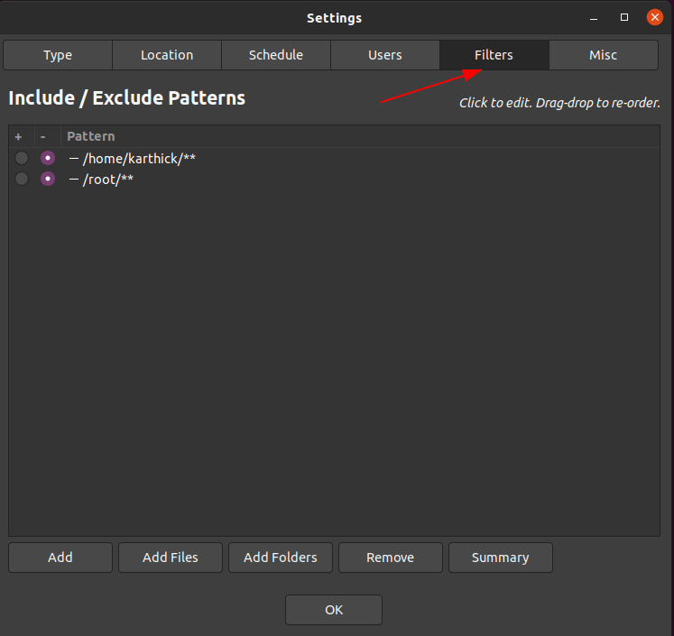 Exclude list in Timeshift