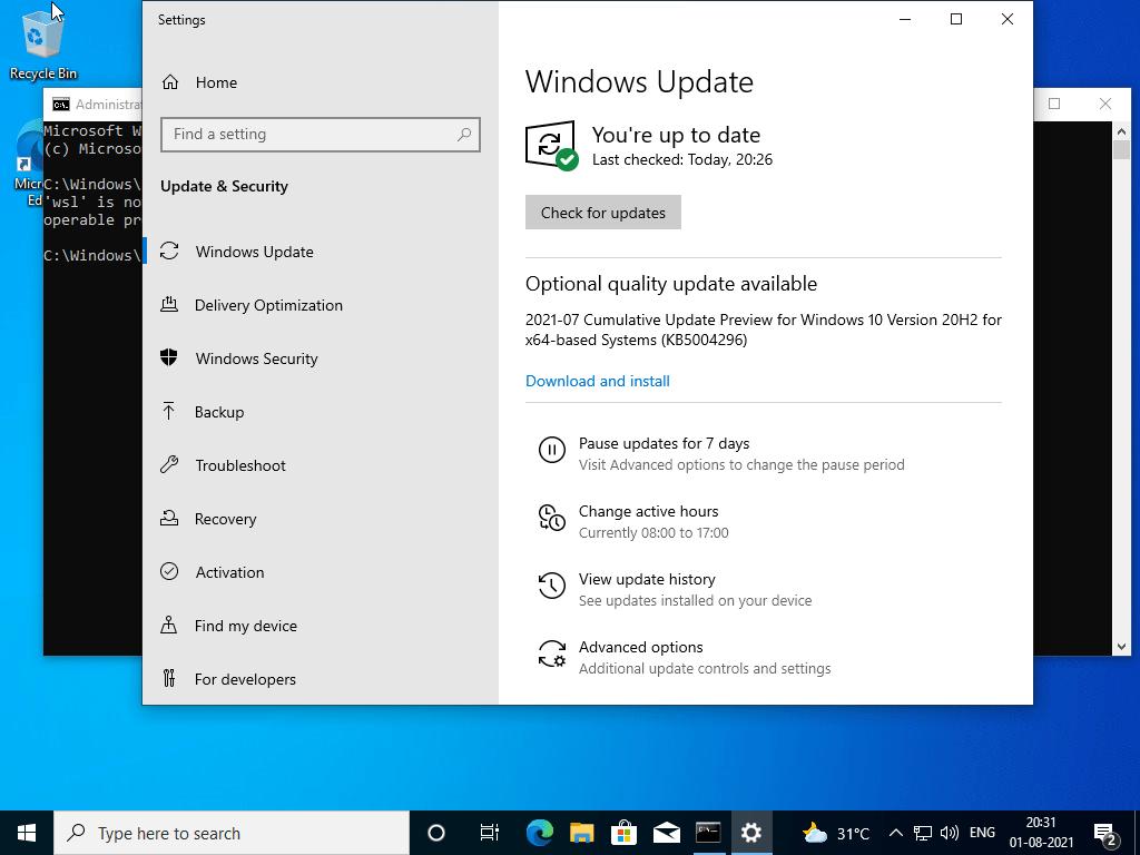 Instale la actualización KB5004296 en Windows