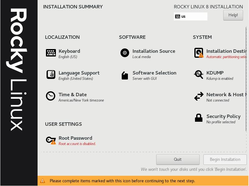 Rocky Linux 8 installation summary