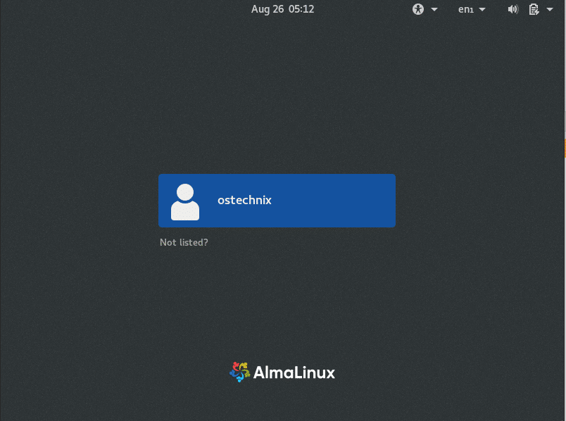 Almalinux login screen