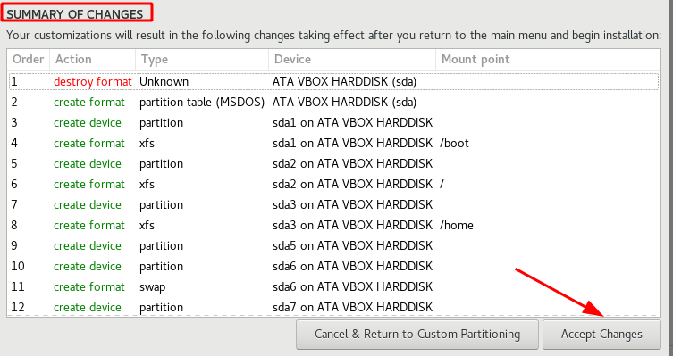 Apply disk partitioning changes