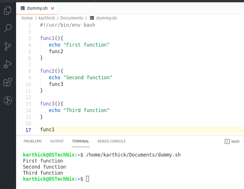 Calling function from another function