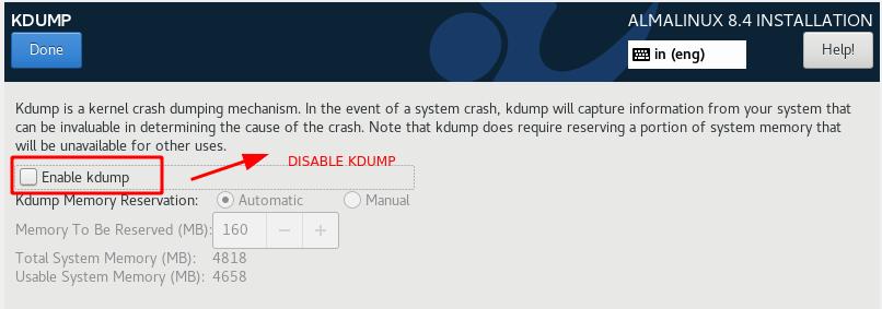 Disable kdump