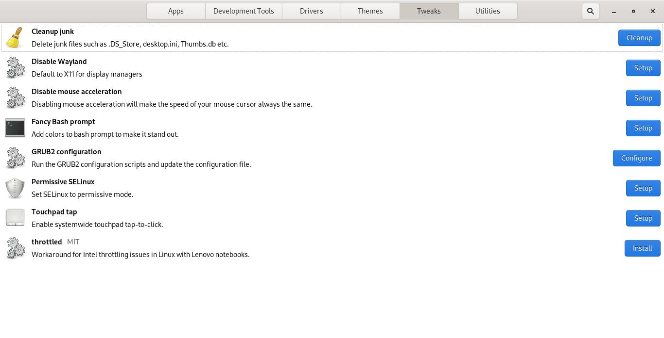 Tweak Fedora system using Fedy