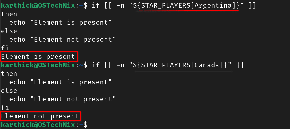 Check element presence in the array