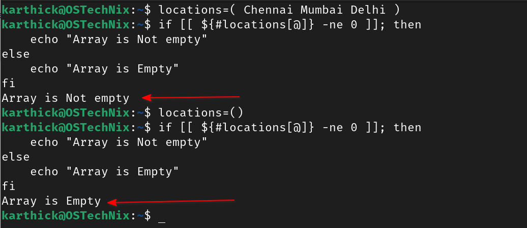 Find if an array is empty or not