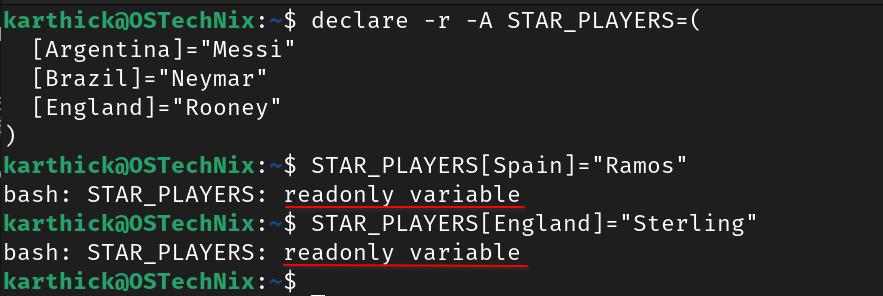 Read-only associative array